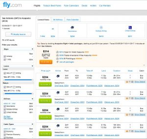 SAT-ACA: Fly.com Search Results