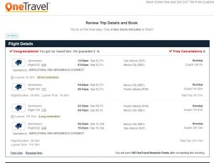 SAT-PVR: OneTravel Booking Page