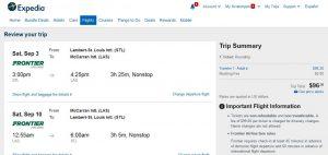 STL-LAS: Expedia Booking Page