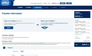 San Francisco to Ft. Lauderdale: JetBlue Booking Page