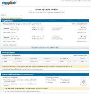 San Francisco to Orlando: CheapOair Booking Page