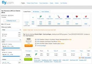 San Francisco to Orlando: Fly.com Results