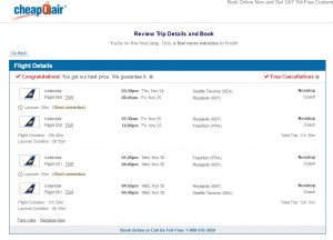 Seattle to Frankfurt: CheapOair Booking Page