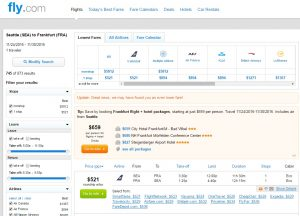 Seattle to Frankfurt: Fly.com Results