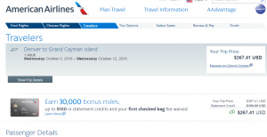 Denver to Grand Cayman: American Airlines Booking Page