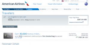 LA to San Juan: AA Booking Page