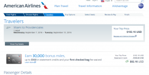Miami to Turks & Caicos: AA Booking Page