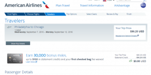 Philly to Chicago: American Airlines Booking Page