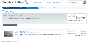 Seattle to Chicago: AA Booking Page