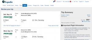 Austin to Denver: Expedia Booking Page