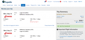 Boston to Athens: Expedia Booking Page