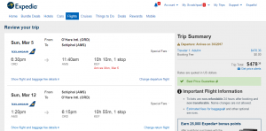Chicago to Amsterdam: Expedia Booking Page