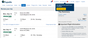 Denver to Austin: Expedia Booking Page