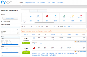 Boston to Athens: Fly.com Results Page
