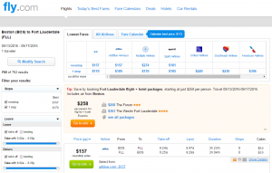 Boston to Ft Lauderdale: Fly.com Results Page