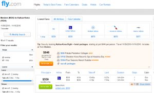 Boston to Kailua-Kona: Fly.com Results Page