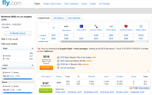 Baltimore to LA: Fly.com Results