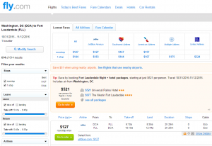 D.C. to Fort Lauderdale: Fly.com Results Page