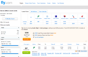 Denver to Austin: Fly.com Results Page