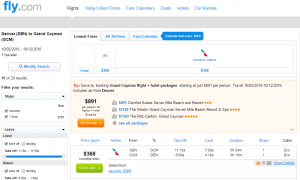Denver to Grand Cayman: Fly.com Results Page