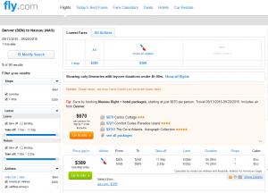 Denver to Nassau: Fly.com Results Page