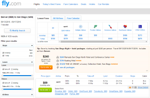 Denver to San Diego: Fly.com Results Page