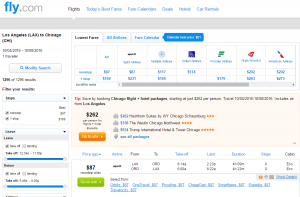 LA to Chicago: Fly.com Results Page