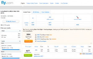 Long Beach to NYC: Fly.com Results Page