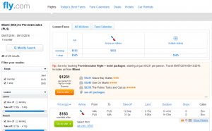 Miami to Turks & Caicos: Fly.com Results Page