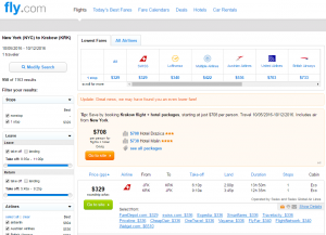 NYC to Krakow: Fly.com Results Page