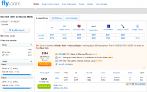 NYC to Orlando: Fly.com Results Page