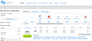 NYC to Croatia: Fly.com Results Page