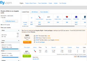 Phoenix to LA: Fly.com Results Page