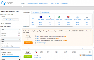 Seattle to Chicago: Fly.com Results Page