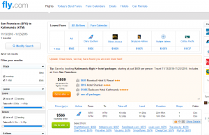 SF to Nepal: Fly.com Results Page