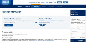 LA to NYC: JetBlue Booking Page