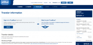 Long Beach to NYC: JetBlue Booking Page