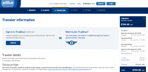 NYC to Bermuda:JetBlue Booking Page