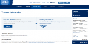 NYC to LA: JetBlue Booking Page
