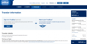 NYC to Long Beach: JetBlue Booking Page