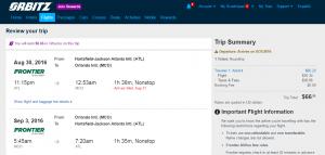 Atlanta to Orlando: Orbitz Booking Page