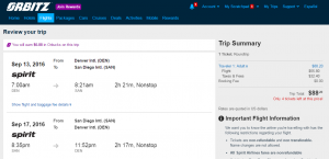 Denver to San Diego: Obitz Booking Page