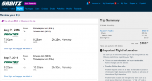 Philly to Orlando: Orbitz Booking Page