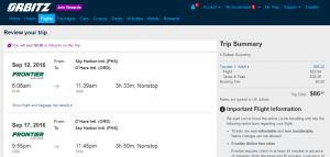 Phoenix to Chicago: Orbitz Booking Page