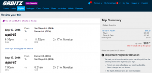 San Diego to Denver: Orbitz Booking Page