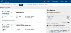 Atlanta to Orlando: Travelocity Booking Results