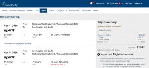 Baltimore to LA: Travelocity Booking Page