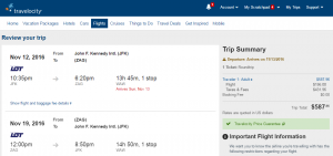 NYC to Croatia: Travelocity Booking Page