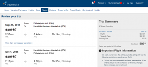 Philly to Atlanta: Travelocity Booking Page