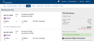 Phoenix to Honolulu: Travelocity Booking Page